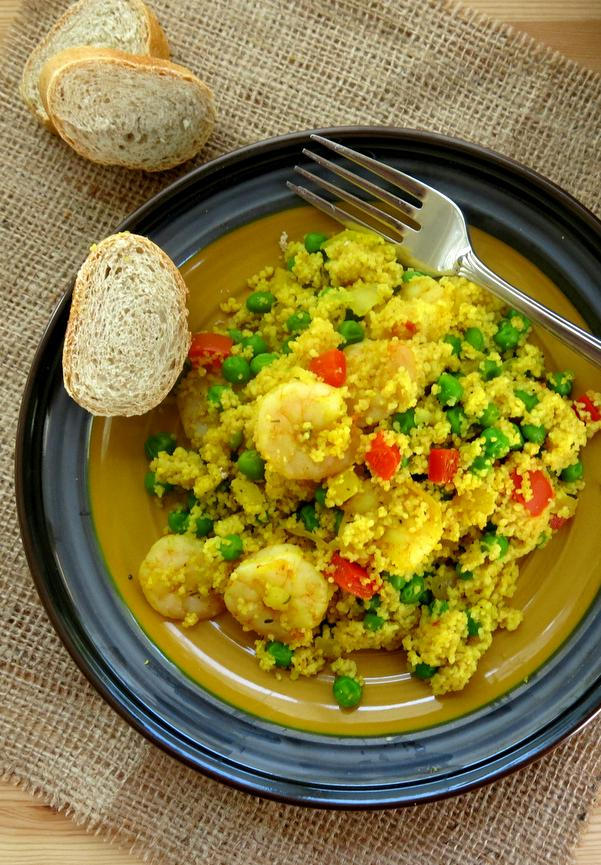 One Dish Couscous Paella with Shrimp Recipe