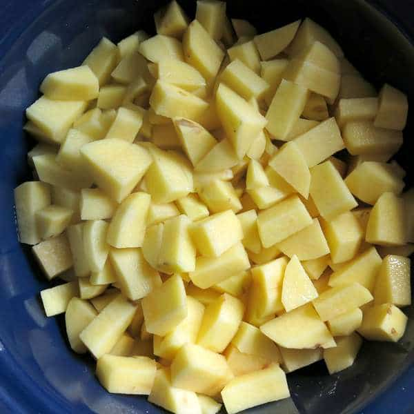 Peeled and Cubed Potatoes in Crock Pot