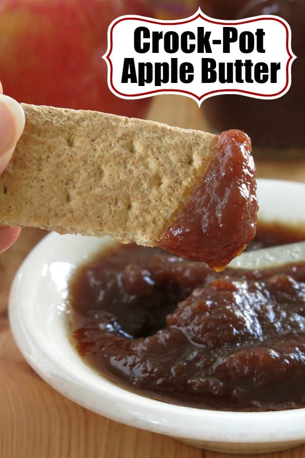 Crock-Pot Apple Butter Recipe uses less sugar than most. It's perfect for your fall recipes, slathered on toast or for fun edible gifts. It's freezer-friendly too. #applebutter #slowcooker #crockpot