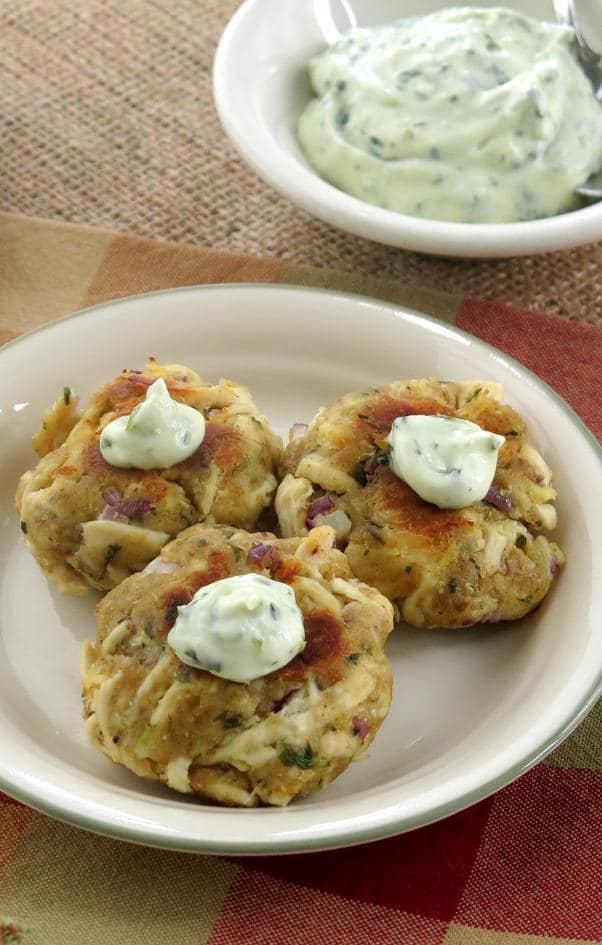 Chicken Cakes with Cilantro Garlic Mayonnaise