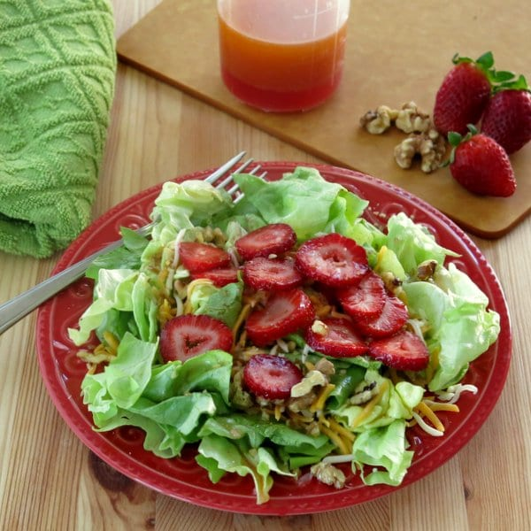 Red Wine Vinaigrette Dressing over Salad Greens on a plate with fork