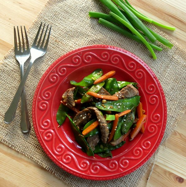 Sesame Beef Strips with Stir Fry Vegetables