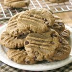 Pile of Sunflower Seed Butter Cookies with chocolate chips on a plate