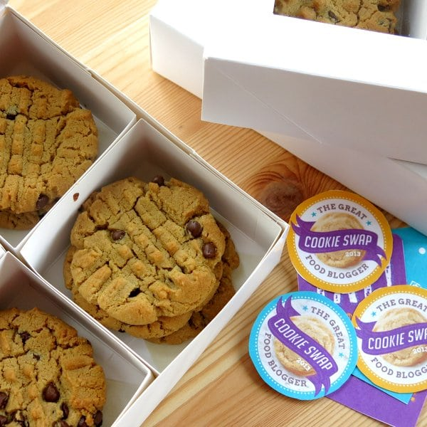 Sunflower Seed Butter Cookies with Chocolate Chips in a shipping box next to labels