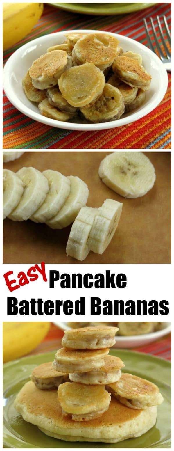Pancake Battered Bananas are an easy alternative to fried banans. Easier and less mess...but so delicious!