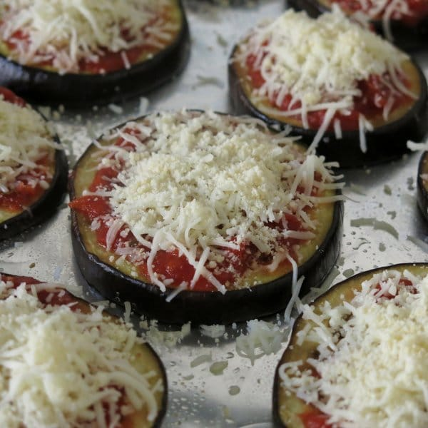 Eggplant Parmesan rounds Ready to Cook with cheese on top