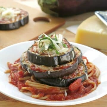 Eggplant Parmesan Stacks on plate