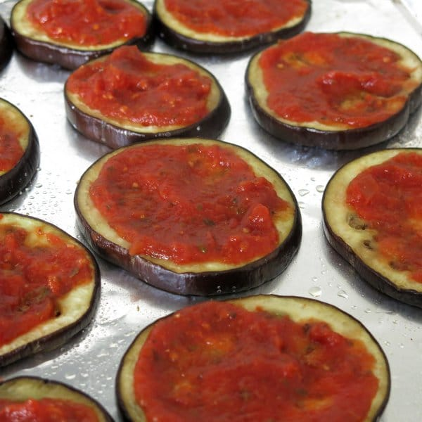 Eggplant rounds with Pasta Sauce on top
