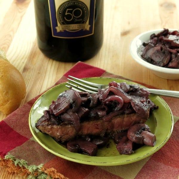 Burgundy Mushroom Sauce over Beef