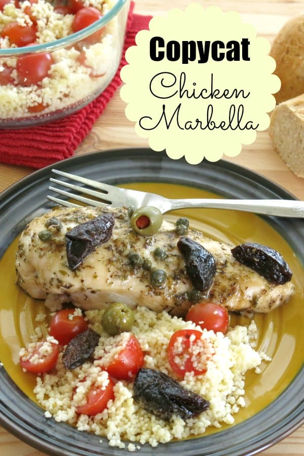 Chicken Marbella Copycat of the Silver Palate restaurant favorite. Tangy marinated boneless chicken is sprinkled with brown sugar, topped with olives and prunes and baked to perfection. #chicken