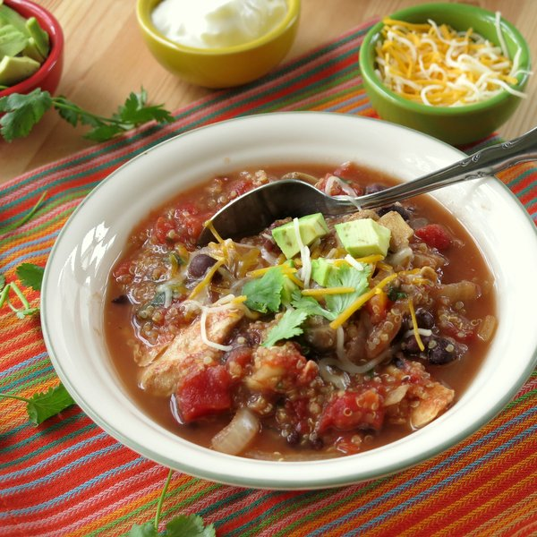 Crock Pot Fajitas Soup with Chicken and Quinoa