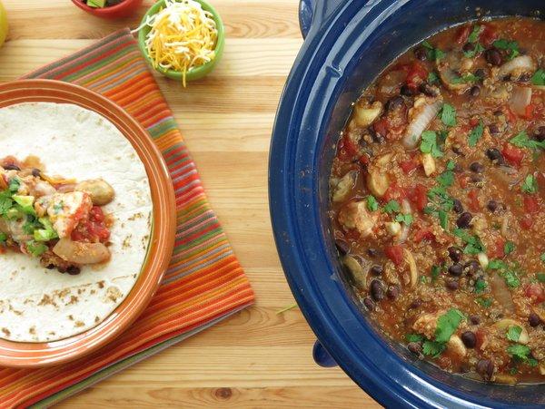 Crock Pot Fajitas with Chicken and Quinoa