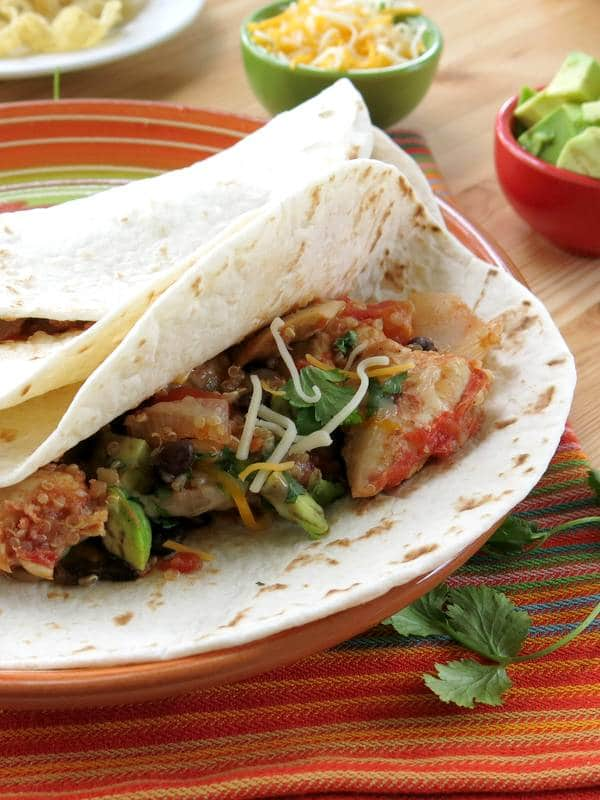 Crock-Pot Chicken Fajitas with Quinoa in flour tortilla