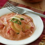 Spiked Tomato Cream Sauce over Ravioli