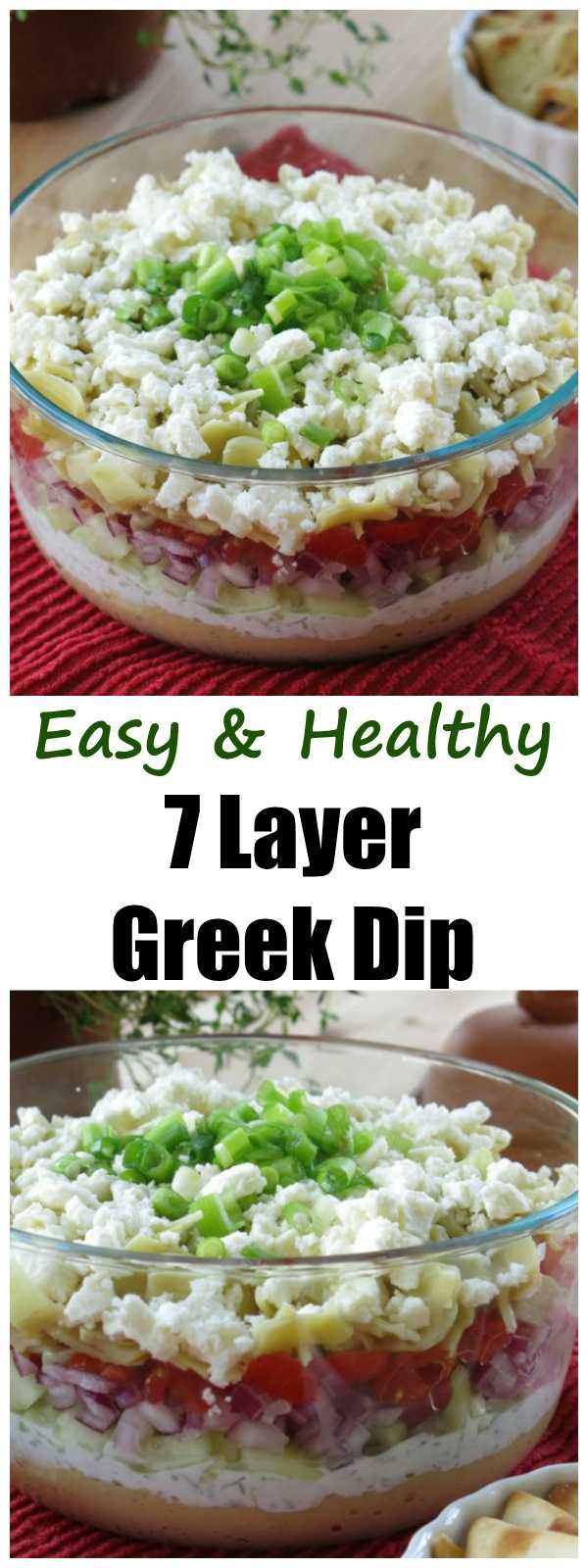 7 Layer Greek Dip Recipe. You're going to want to have this easy and healthy appetizer at your next party!