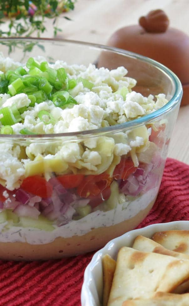 Greek Dip with 7 Plus Layers in large bowl