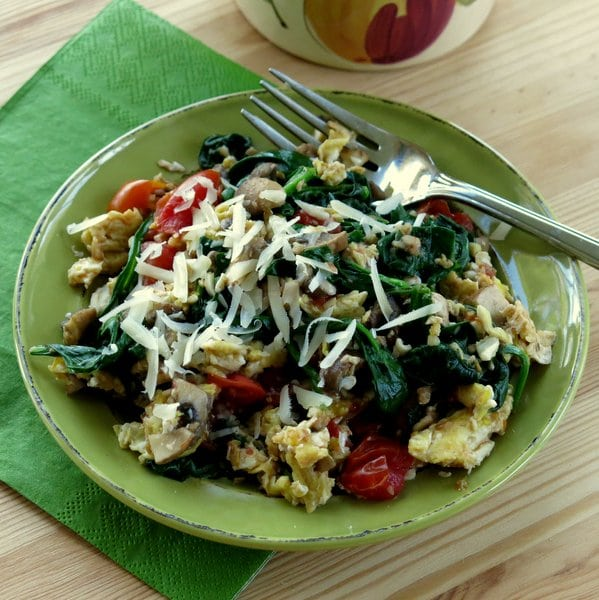 Mushroom, Spinach and Egg Scramble on plate