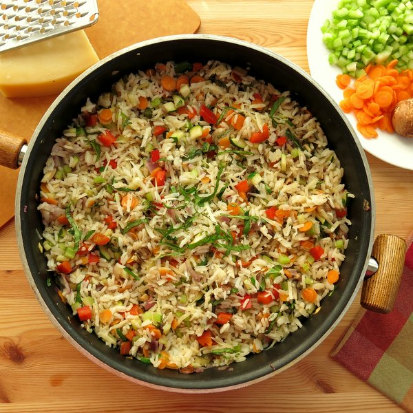 Vegetarian Rice Pilaf Recipe in skillet