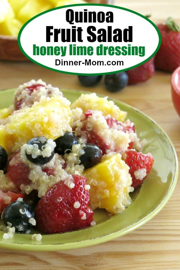 Quinoa Fruit Salad with Honey Lime Dressing is the first thing to go at breakfast and brunch! #quinoafruitsalad #honeylimedressing