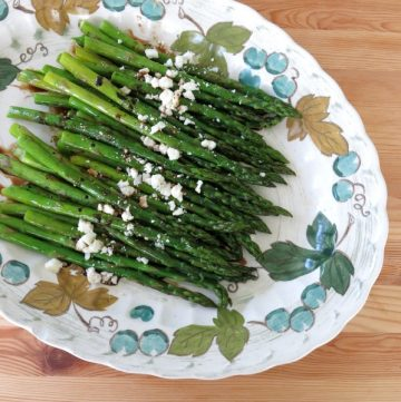 Roasted Asparagus with Balsamic Reduction and Feta Cheese