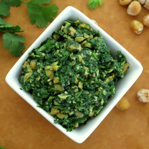 Cilantro Pesto with Chick Peas