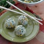 Vegan Rice Balls with Corn and Cilantro Pesto
