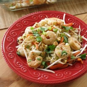 Easy shrimp pad thai recipe on a plate