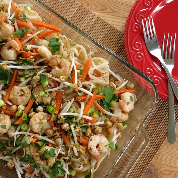 Easy Shrimp Pad Thai Recipe in baking dish with forks next to it