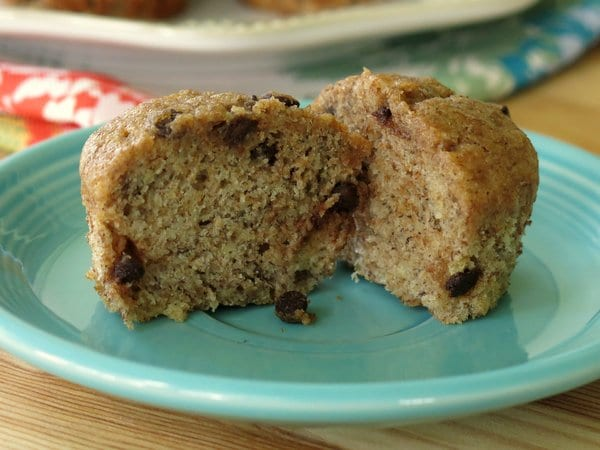 Moist Healthy Banana Muffins with Chocolate Chips split in half