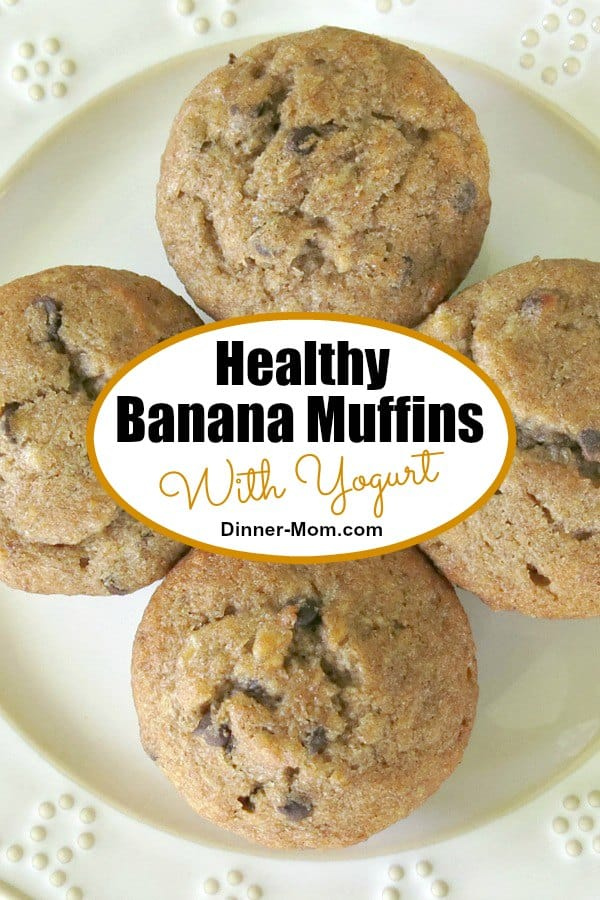 Healthy Banana Muffins with yogurt, whole wheat flour and sweet banana make this recipe good for you...even if you opt for chocolate chips instead of nuts! 
