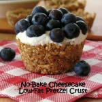 No Bake Cheesecake and Blueberries in a Low-Fat Pretzel Crust
