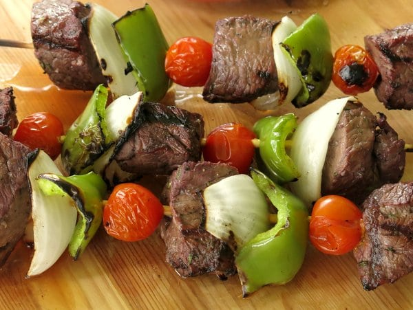 Shish kabobs with red wine rosemary marinade