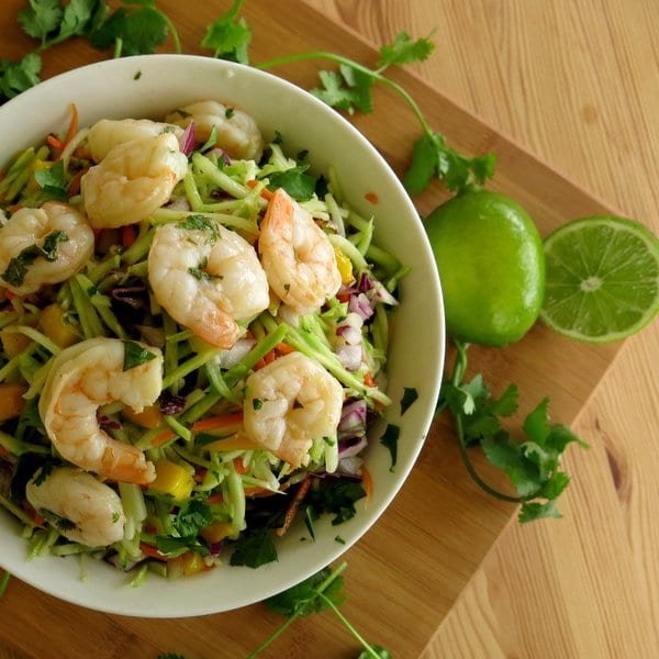Margarita Shrimp Recipe over Slaw with Mango and Red Onion