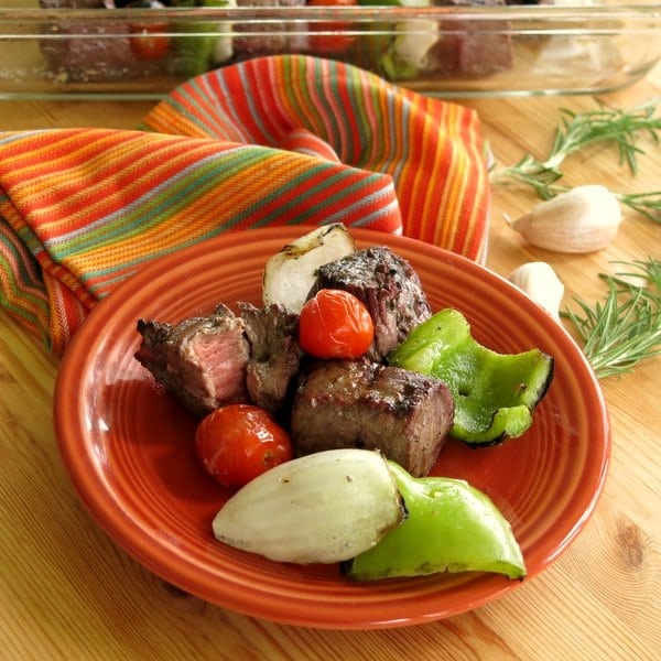Shish kebobs with Red Wine and Rosemary Marinade