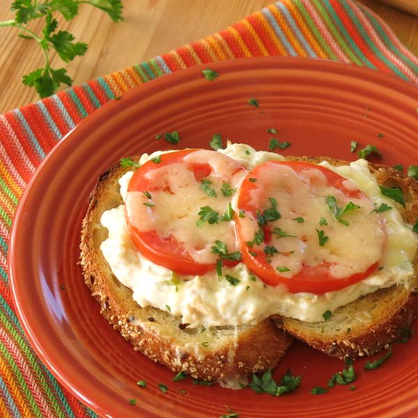 Creamy Open-Faced Tuna Melt Recipe on plate