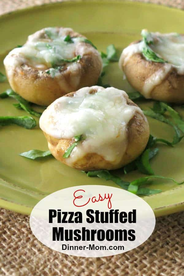 Pizza Stuffed Mushrooms have just 4 ingredients! They're an easy, low-carb, gluten-free appetizer or snack. #stuffedmushrooms #lowcarbrecipe