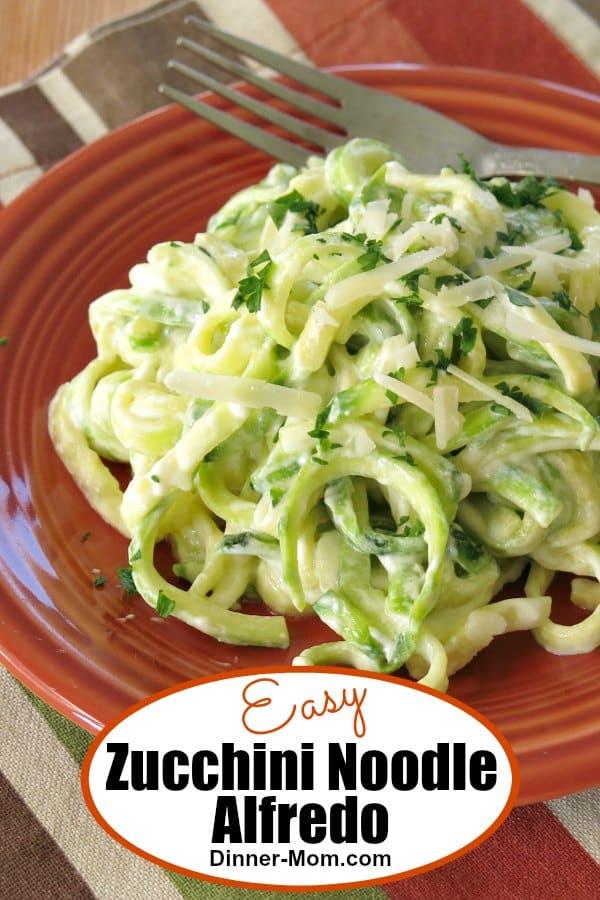 Easy Zucchini Noodle Alfredo Pin
