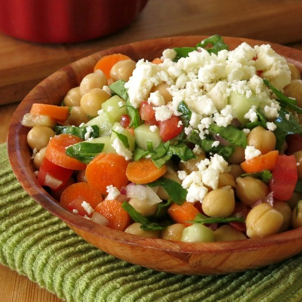 Chick Pea Salad Topped with Feta Cheese