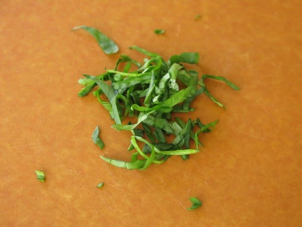 Chiffonaded spinach