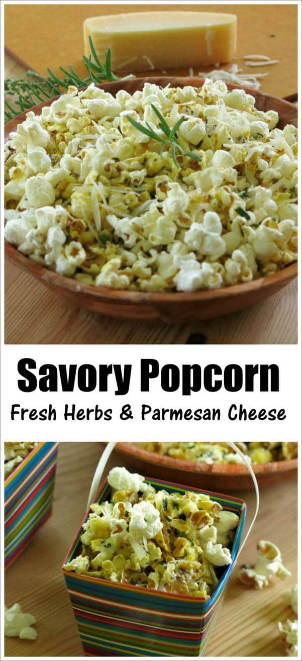 Savory Popcorn with Fresh Herbs and Parmesan Cheese