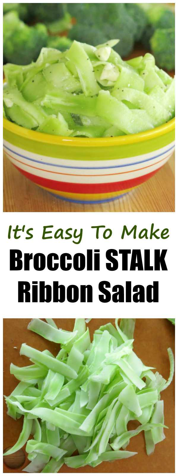 Shaved Broccoli Stalk Ribbon Salad with Feta Cheese - it's low-carb, gluten-free, easy to make and delish!