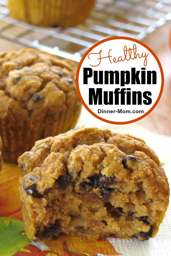 Healthy Pumpkins Muffins with chocolate chips get the seal of approval because they're made with whole wheat flour and Greek yogurt too! #healthypumpkinmuffins #muffins
