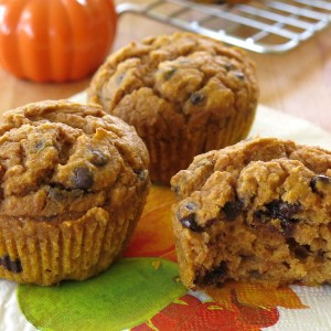 Whole Wheat Pumpkin Muffins with Chocolate Chips