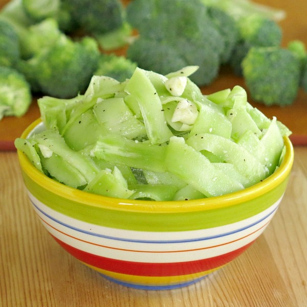 Raw Broccoli Stalk Salad in a bowl