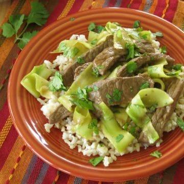 Thai beef stir fry recipe on plate