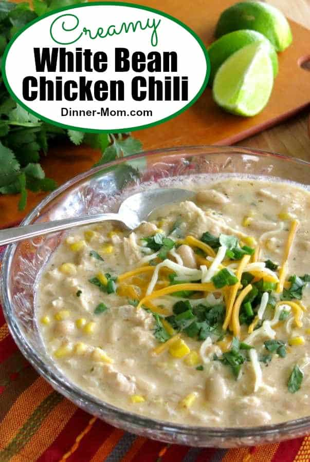 Easy, creamy White Bean Chicken Chili Soup is comfort food that's actually healthy! #whitebeanchickenchili #soup