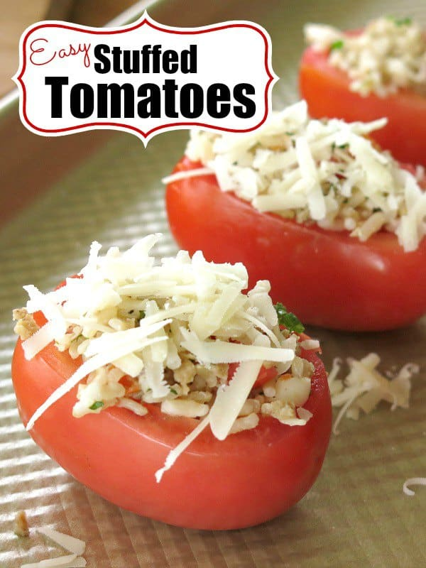 Easy Stuffed Tomatoes with Rice and Sausage - bake in the oven. Enjoy this healthy recipe as a side or have two and make it a meal! #stuffedtomatoes #tomatoes #appetizer #easydinner #dinnerrecipes #dinneridea #dinnermom