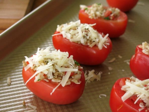 Rice and Sausage Stuffed Tomatoes on baking sheet