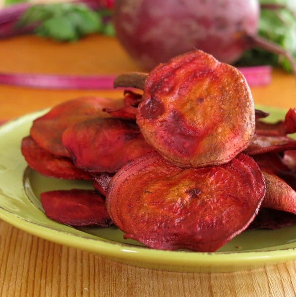 Baked Beet Chips on a plate