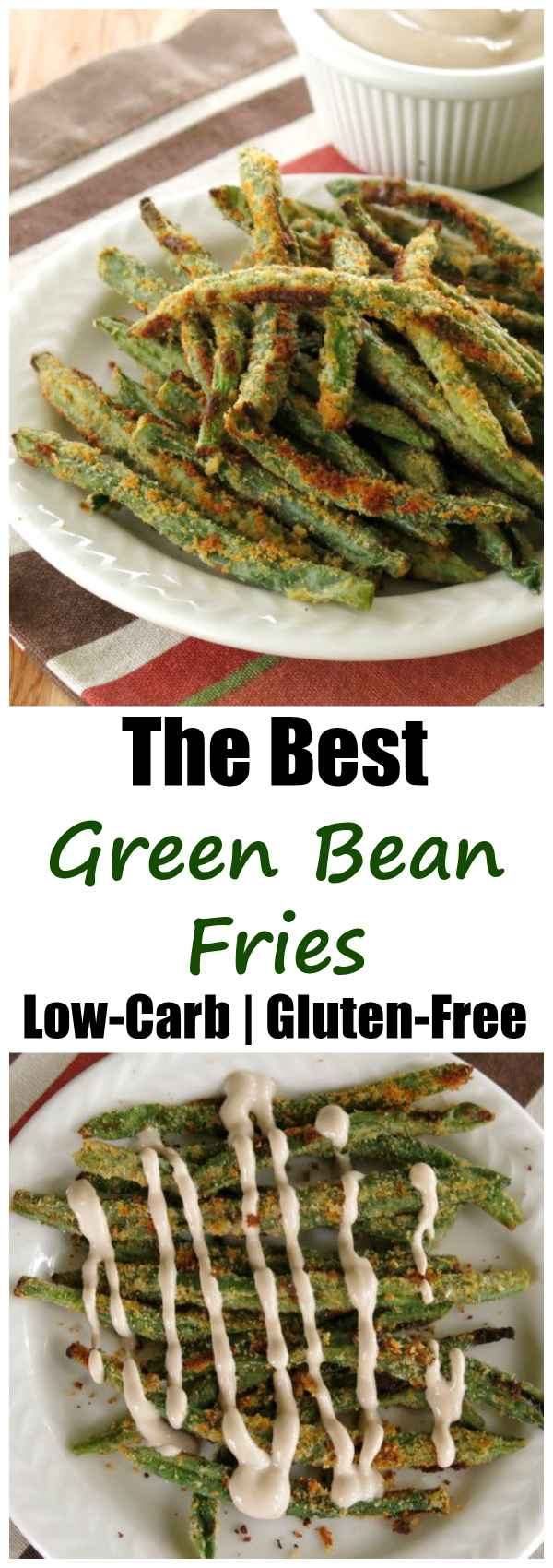 Dunk Crispy Baked Green Bean Fries in Balsamic Yogurt Dip or eat them hot out of the oven with this easy recipe. You'll satisfy your need to crunch with a veggie! Low-carb | Gluten-free